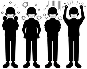 マスクをして喜怒哀楽を全身で表現する人物【白黒のシルエットイラスト】のイラスト素材 [FYI04896281]