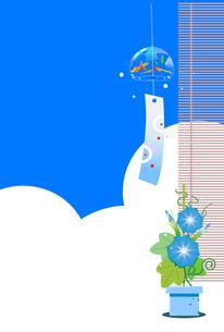 風鈴と朝顔の夏の日本イメージのイラストのイラスト素材 [FYI04896429]