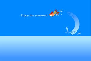 金魚の暑中見舞い英文ハガキテンプレートのイラスト素材 [FYI04896499]