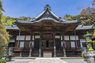 伊豆修善寺の観光名所 修禅寺本堂と青い空の写真素材 [FYI04896633]