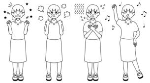 喜怒哀楽を全身で表現するおばあさんの白黒イラストのイラスト素材 [FYI04896803]
