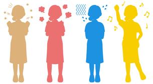 喜怒哀楽を全身で表現する女性のシルエットイラストのイラスト素材 [FYI04896807]