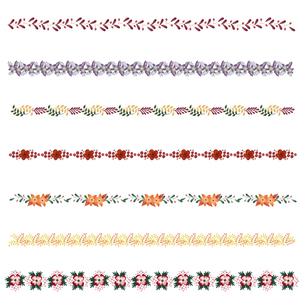 植物柄の飾り罫線セットのイラスト素材 [FYI04896891]