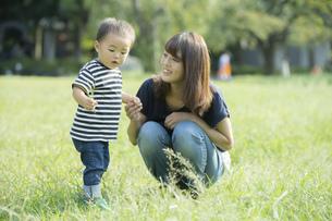 公園で遊ぶ親子(2歳児)のスナップの写真素材 [FYI04896909]