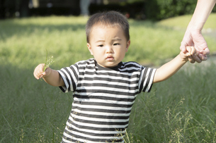 公園で遊ぶ親子(2歳児)のスナップの写真素材 [FYI04896911]