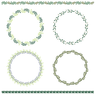葉っぱのフレームと罫線のセットのイラスト素材 [FYI04896916]