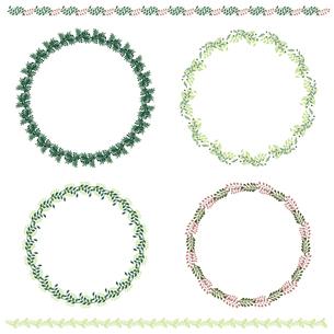 葉っぱのフレームと罫線のセットのイラスト素材 [FYI04897072]