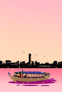 都会の夕景と屋形船のイラスト素材 [FYI04897383]