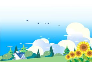 ヒマワリの咲く夏の丘と住宅の背景イラストのイラスト素材 [FYI04897629]