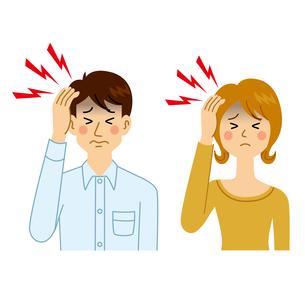 頭痛がする男女のイラスト素材 [FYI04897671]