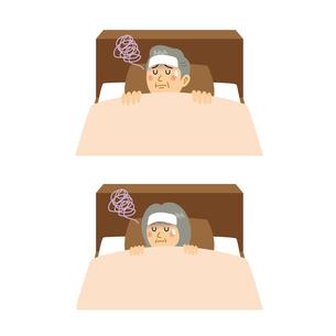 発熱して寝込む老夫婦のイラスト素材 [FYI04897676]