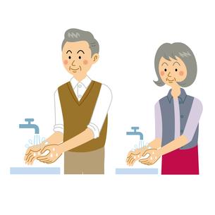 手を洗う老夫婦のイラスト素材 [FYI04897679]