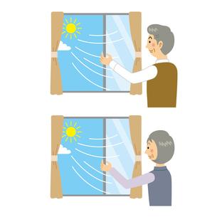 空気換気をする老夫婦のイラスト素材 [FYI04897680]