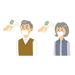 検温する老夫婦のイラスト素材 [FYI04897681]