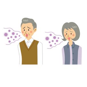 感染して溜息をつく老夫婦のイラスト素材 [FYI04897685]