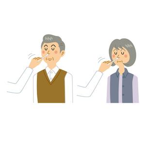 感染検査をする老夫婦のイラスト素材 [FYI04897686]