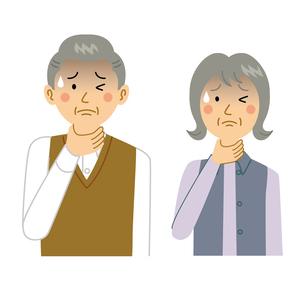喉を痛める老夫婦のイラスト素材 [FYI04897688]
