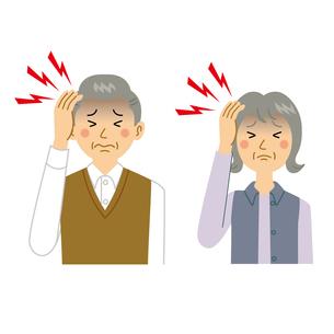 頭痛がする老夫婦のイラスト素材 [FYI04897690]