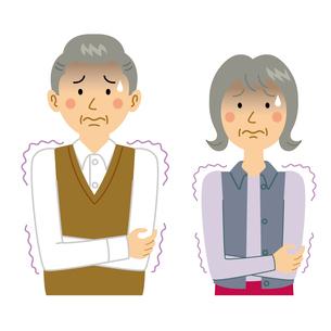 寒気がする老夫婦のイラスト素材 [FYI04897691]