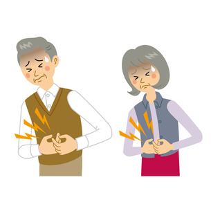 腹痛を我慢する老夫婦のイラスト素材 [FYI04897692]