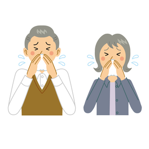 鼻をかむ老夫婦のイラスト素材 [FYI04897695]