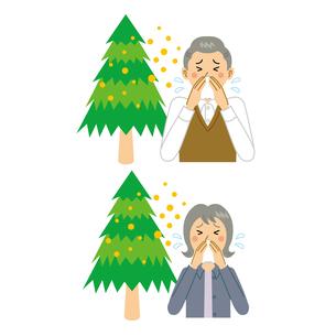 花粉症に悩む老夫婦のイラスト素材 [FYI04897696]