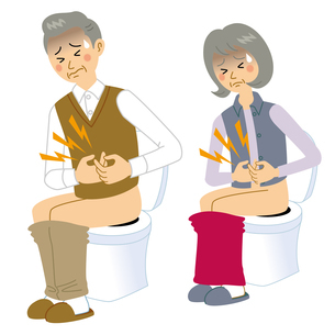 下痢に悩む老夫婦のイラスト素材 [FYI04897697]