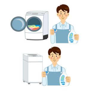 洗濯機と男性のイラスト素材 [FYI04897700]