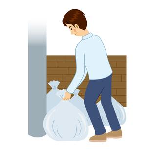 ゴミ出しをする男性のイラスト素材 [FYI04897701]