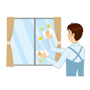 窓ふきをする男性のイラスト素材 [FYI04897703]