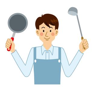 料理をする男性のイラスト素材 [FYI04897704]