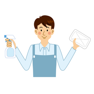 拭き掃除をする男性のイラスト素材 [FYI04897706]