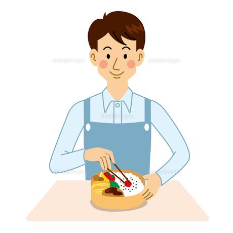 弁当を作る男性のイラスト素材 [FYI04897708]
