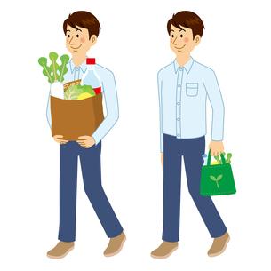 買い物に行く男性のイラスト素材 [FYI04897714]