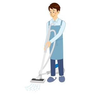 掃除機をかける男性のイラスト素材 [FYI04897715]