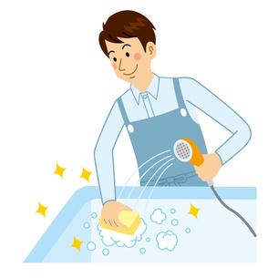 風呂を洗う男性のイラスト素材 [FYI04897716]