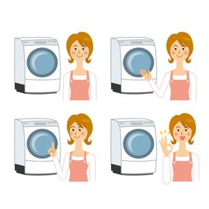 ドラム洗濯機と女性のイラスト素材 [FYI04897724]