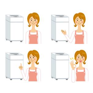 洗濯機と女性のイラスト素材 [FYI04897725]