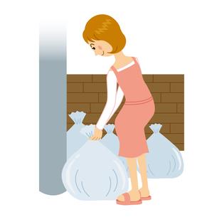 ゴミ出しをする女性のイラスト素材 [FYI04897727]