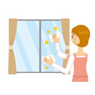 窓ふきをする女性のイラスト素材 [FYI04897729]
