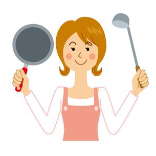 料理をする女性のイラスト素材 [FYI04897730]