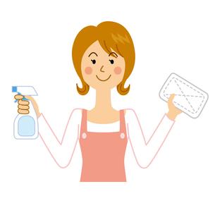 拭き掃除をする女性のイラスト素材 [FYI04897732]