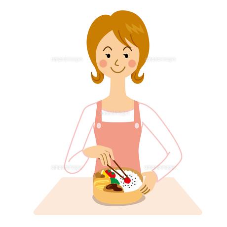 弁当を作る女性のイラスト素材 [FYI04897734]