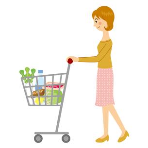 買い物カートを押す女性のイラスト素材 [FYI04897735]