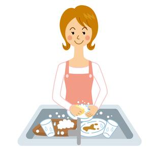 洗い物をする女性のイラスト素材 [FYI04897737]
