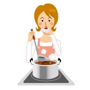 カレーを作る女性のイラスト素材 [FYI04897739]