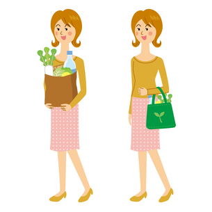 買い物に行く女性のイラスト素材 [FYI04897740]