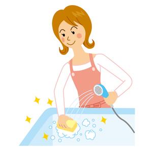 風呂を洗う女性のイラスト素材 [FYI04897742]