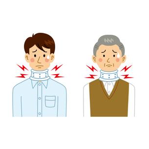 首にコルセットをする男性のイラスト素材 [FYI04897745]