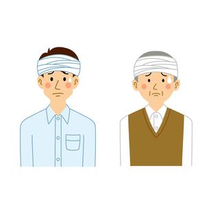 頭に包帯を巻く男性のイラスト素材 [FYI04897746]